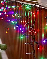 Гирлянда бахрома улица 3x0,7м mix 100 LED на черном проводе, фото 1