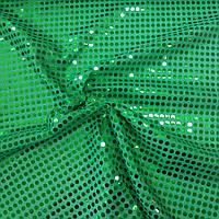 Пайеточная ткань копейка зелёная, 100 см