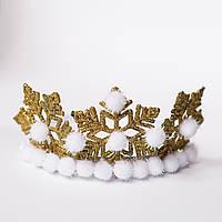 Обруч корона золотая снежинка с блестками