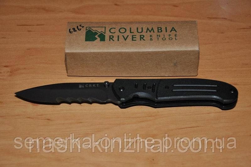 Нож брендовый CRKT Columbia, полуавтомат, очень острая заточка + стропорез. Нож солдата. Армейский.