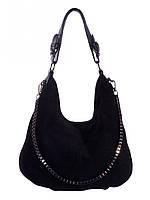 Сумка-мешок женская из натуральной замши 7327 черный.Кожаные женские сумки оптом в Украине.