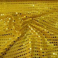Пайеточная ткань копейка жёлтая, 100 см