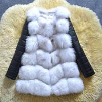Меховая жилетка женская со съёмными рукавами белая из искусственного меха Купить недорого Украина!, фото 1
