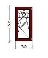 Готовое окно Salamander 2D 740 ширина, 1505 высота, поворотно-откидное, махагон