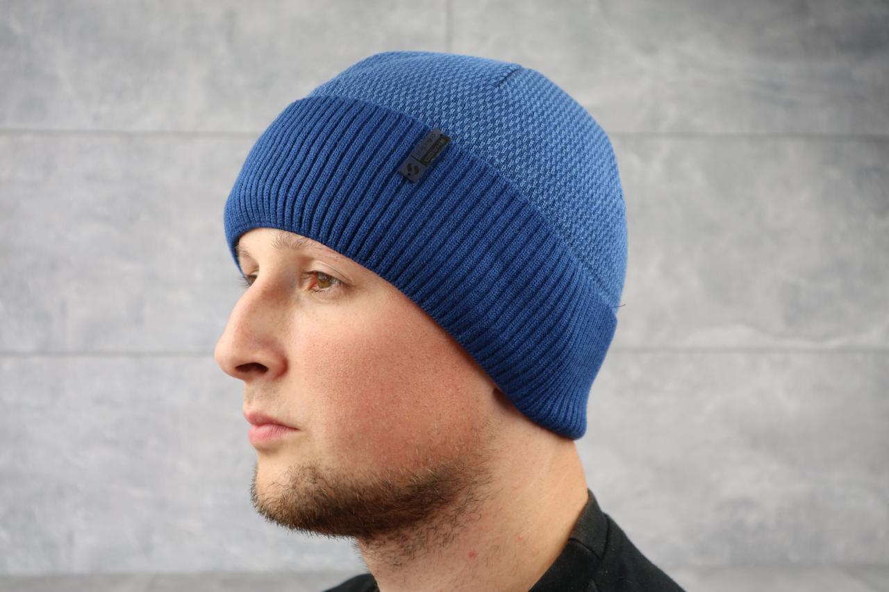 Мужская зимння шапка с отворотом ShaDo 10 цвет Джинс