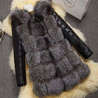 Меховая жилетка женская со съёмными рукавами под чернобурку из искусственного меха Купить недорого Украина!