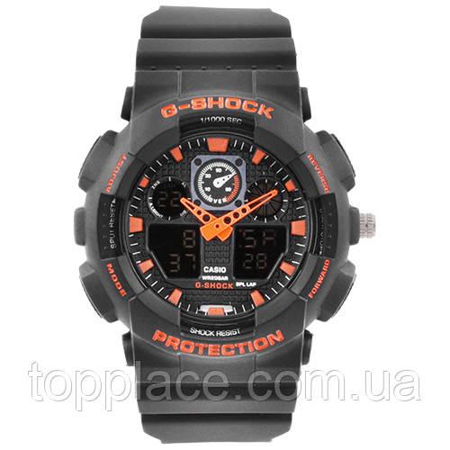 Мужские наручные часы S-SHOCK с подсветкой, Black-Orange