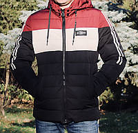 Курточка мужская зимняя  черно-красная прямая.