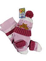 """Детский ясельный комплект """"Дисней"""" шапка на завязках+шарф+рукавички 1-4 мес  (3 ед)"""