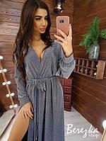 Длинное платье из люрекса с верхом на запах и поясом 66mpl397Q