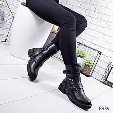 """Ботинки женские зимние, черного цвета из эко кожи """"8939"""". Черевики жіночі. Ботинки теплые, фото 2"""