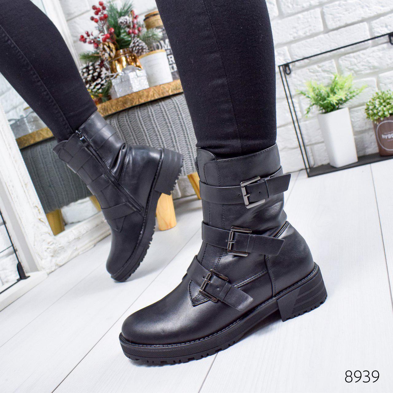 """Ботинки женские зимние, черного цвета из эко кожи """"8939"""". Черевики жіночі. Ботинки теплые"""