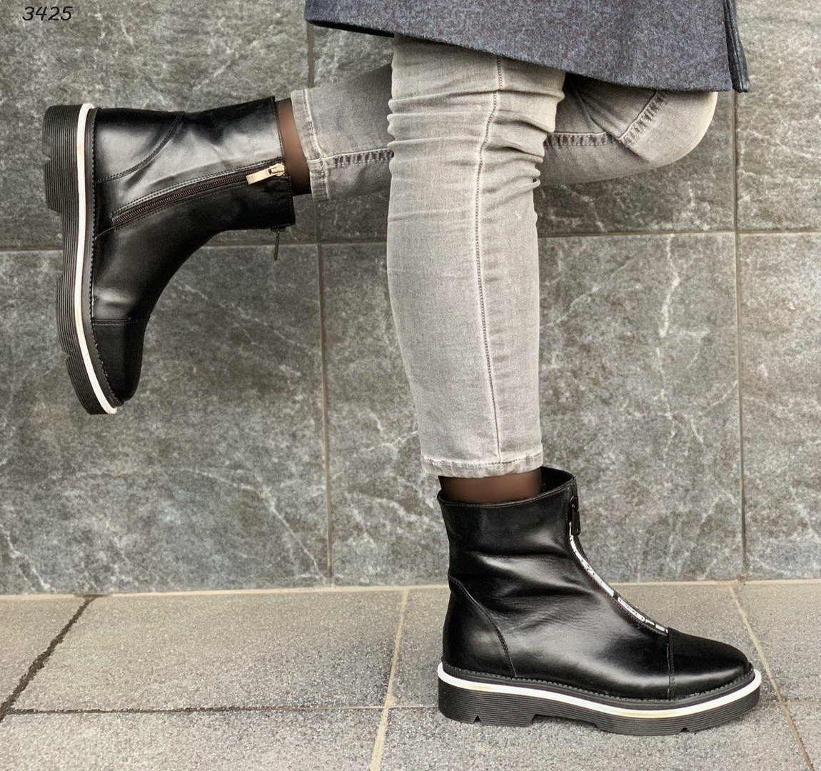 Зимние черные ботинки натуральная кожа
