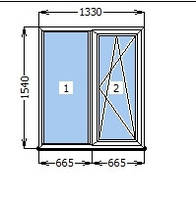 Окно Rehau Euro 70 1330*1540 готовое