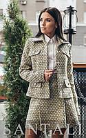 Женский юбочный твидовый костюм с жакетом r45mko348