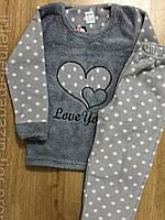 Пижама детская теплая для девочки флис махра