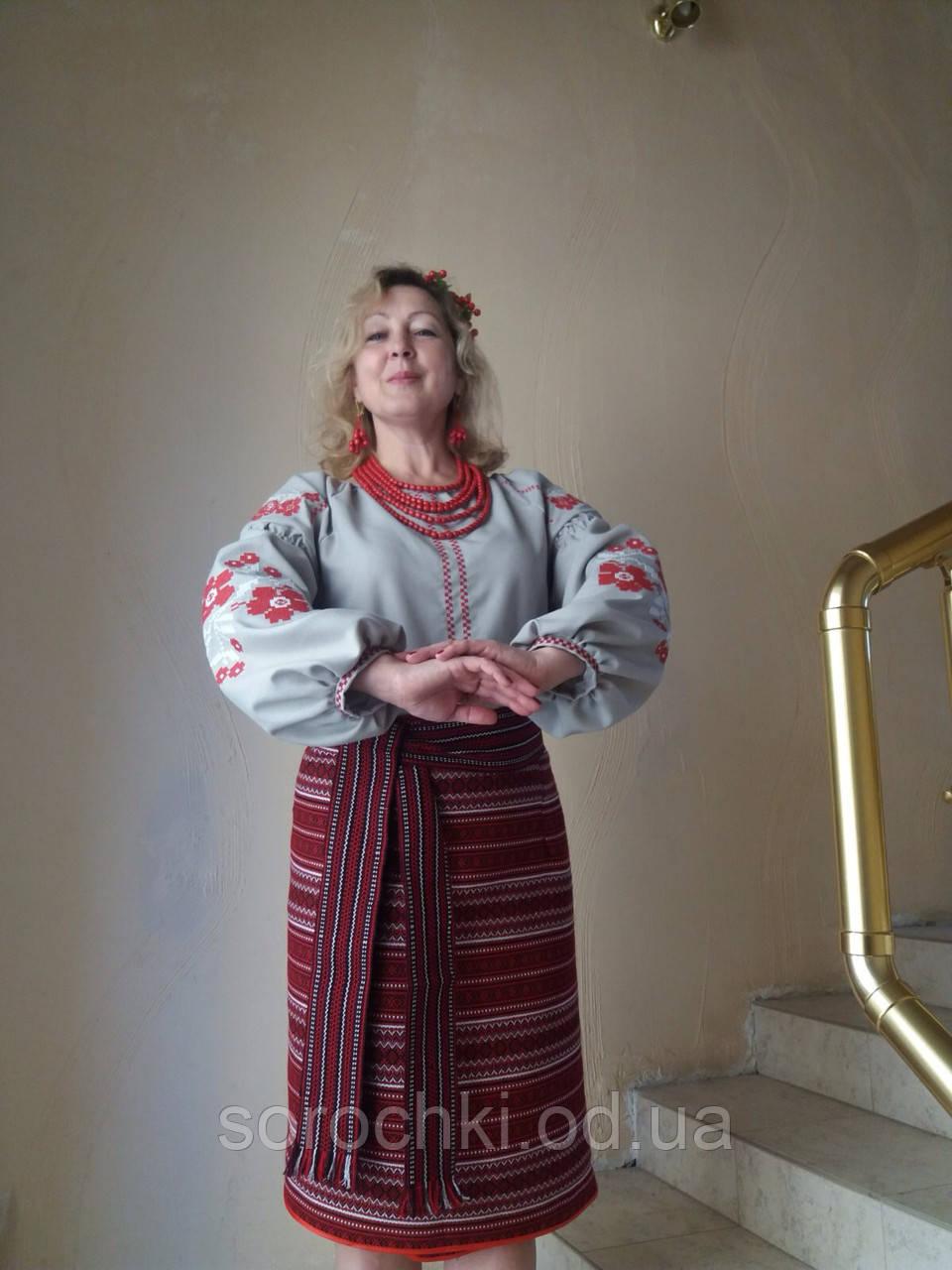 """Блузка,  вышиванка, женская, серая, вышивка """" Маки"""", домотканное полотно"""