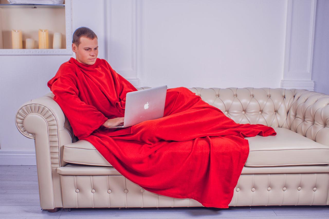 Плед с рукавами из флиса красный 180х150 см