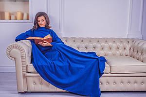 Плед с рукавами из флиса синий 180х150 см