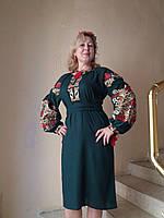 """Платье женское, с вышивкой """" Княжна"""", зеленое, лен"""