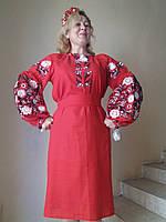 """Платье, женское, с вышивкой """" Княжна"""", красное, лен."""