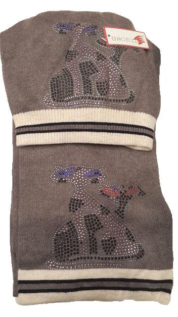 Теплый комплект с шарфом Кошки коричневый