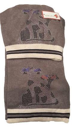 Теплый комплект с шарфом Кошки коричневый, фото 2