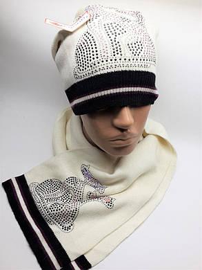 Теплый комплект с шарфом Кошки молочный, фото 2