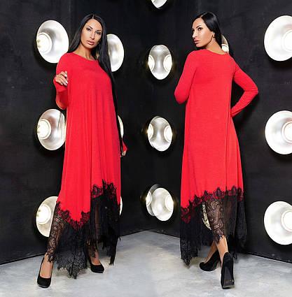 """Нарядное женское длинное платье до больших размеров 929 """"Макси Углы Кружево Контраст"""" в расцветках"""