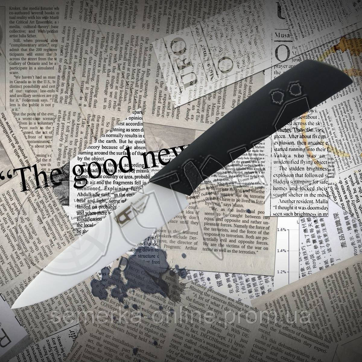 Нож керамический Kitchen fun ( CF ) 4 кухонный для мяса и птицы, не нуждается в заточке