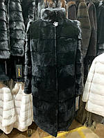 Шуба из натурального бобра с норковыми рукавами, фото 1
