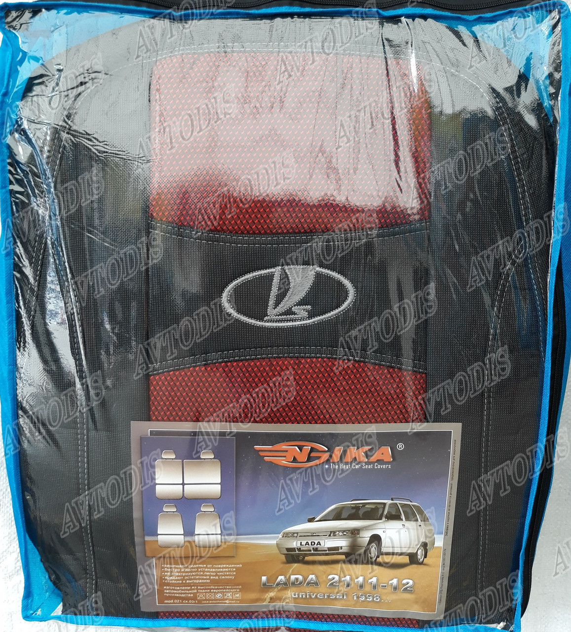 Авто чехлы Lada 2111-2112 1998- (красный) Nika