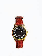 Часы кварцевые Yiweisi Gold женские черные на рыжем ремешке