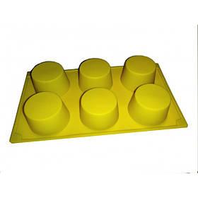 Силиконовая форма для выпечки круглая 6 штук Genes желтая