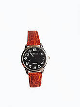 Часы кварцевые Yiweisi Silver женские черные на рыжем ремешке