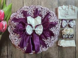 Шикарный набор для новорожденной девочки на крещение р. 1-3 мес. Турция (5 в 1)