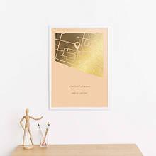 """Постер """"Карта города: геотег"""" персонализированный А3 silver-white"""