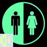 Наклейка люминесцентная салатовая на дверь туалета - 15*15см (поглощает свет и светится в темноте)