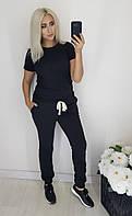Спортивные брюки БАТАЛ на флисе женские ЧЕРНЫЕ (ПОШТУЧНО), фото 1