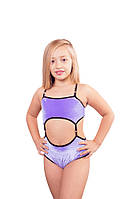 Костюм детский для pole dance Borodina Antonina 128-140 см  с подтяжками фиолетовый (0665)