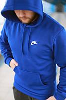 Толстовка мужская с капюшоном синяя, худи Nike
