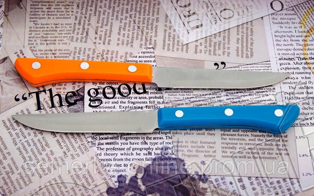 Нож овощной Kiwi б с цветной пластиковой рукоятью. Материал лезвия - нержавейка
