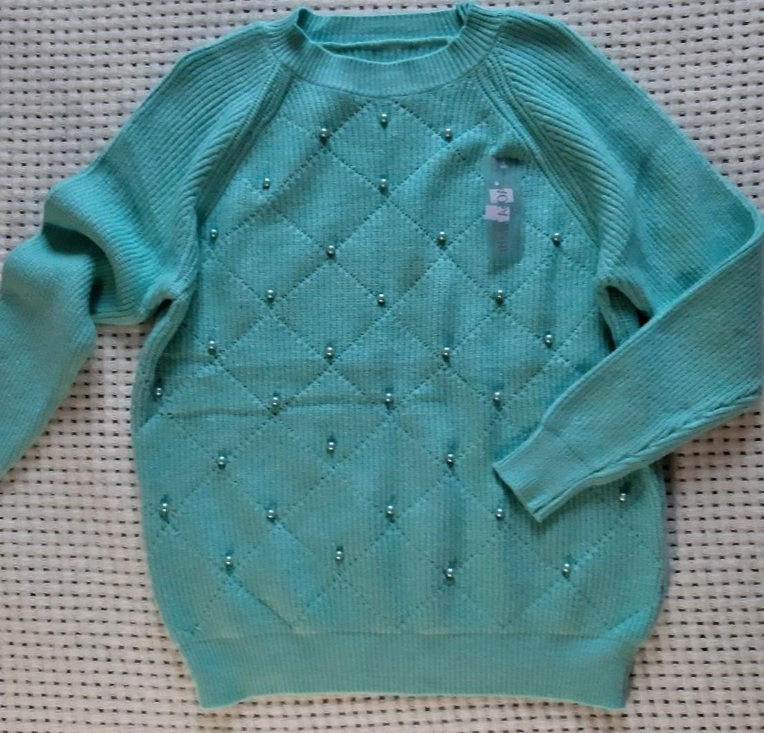 Вязаные женские свитера с бусинками 44-46р