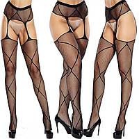 🍓Чулки черные с узором STYLE 5 | чулки, подвязки, эротическое белье, сексуальное белье, чулки сеточка