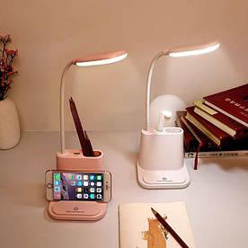 Подставка для ручек PowerBank розовая с встроенной Led лампой и USB выходом