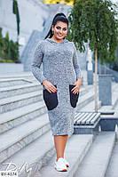 Удобное батальное трикотажное платье с капюшоном арт р15220\1