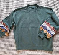Вязаные женские свитера с отделочными рукавами 46-48р