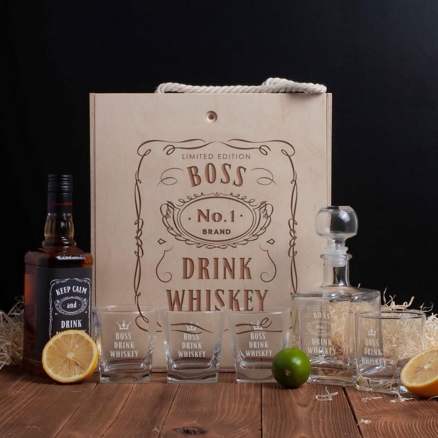 """Набір для віскі """"Drink whiskey"""" в ящику L"""