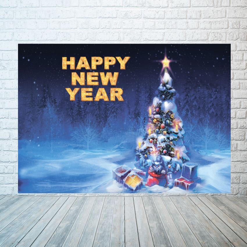 Новогодний баннер  Ёлочка  в снегу  2х3 м