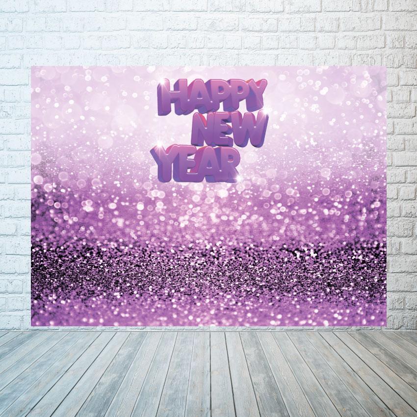 Новогодний баннер  Фиолетовые блестки  2х3 м